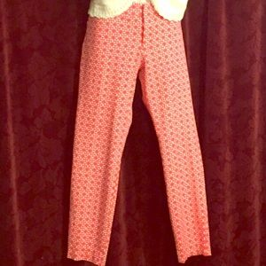 Old Navy the diva coral white crop skinny slacks 8